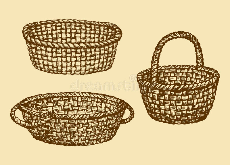 Vector picture of wickerwork basket stock illustration