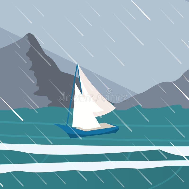 Vector picture yacht regatta off the coast stock illustration