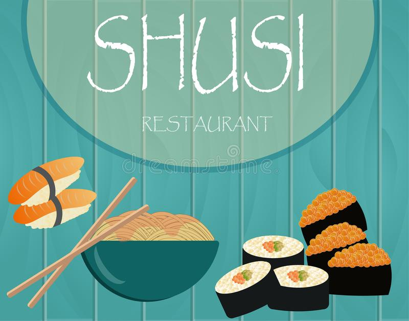 Vector pictures with national food of Japan with sushi with fish royalty free illustration