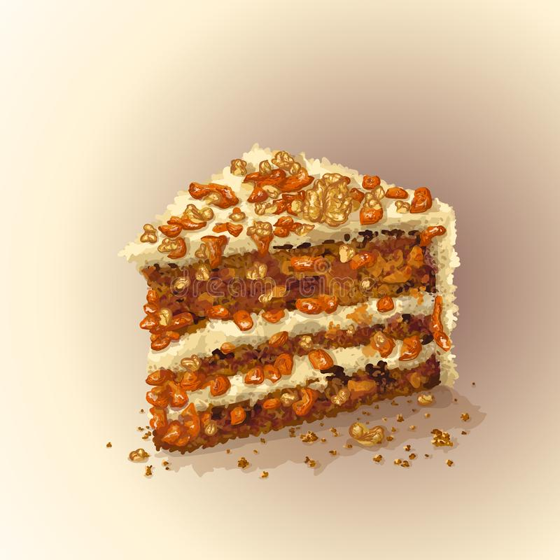 Vector piece of carrot cake with slices of walnuts, dried apricots, prunes, crumbly tender cake layers, which are. Smeared with fantastic thick cheese cream stock illustration