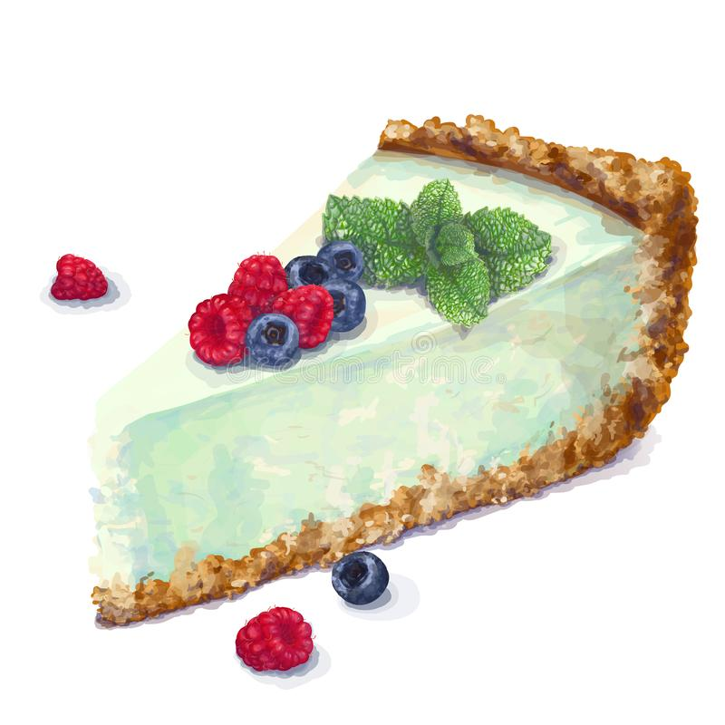 Vector piece of cheesecake cake with airy and tender, delicate creamy-peppermint cheese-cream. Crisp and crumble cake. With back. Mint-flavored, with royalty free illustration