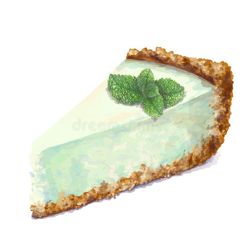 Vector piece of cheesecake cake with airy and tender, delicate creamy-peppermint cheese-cream. Crisp and crumble cake. With back. Mint-flavored, with sprig of royalty free illustration