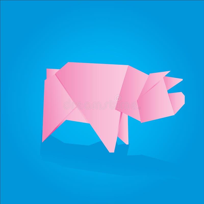Vector pig. Vector illustration of an origami pig royalty free illustration