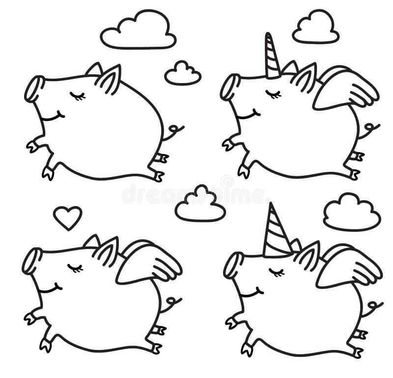 vector pig cartoons black silhouettes stock vector illustration
