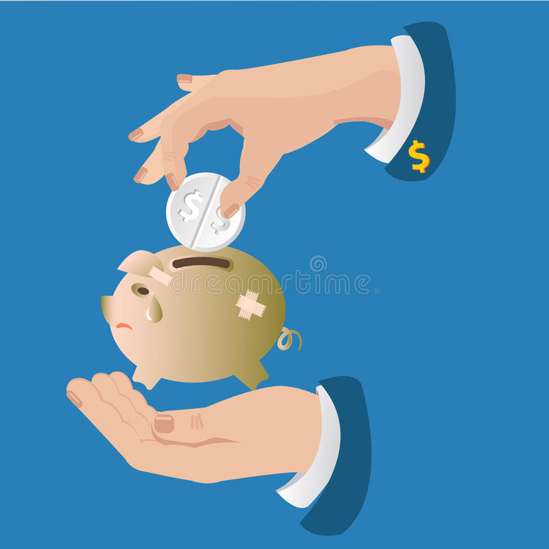 Vector pig piggy bank. The concept is help to overcome the crisis. Business solution stock illustration