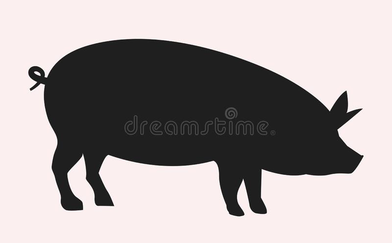 Vector pig silhouette side retro vintage template. Pork animal icon background. Pig farm vector illustration