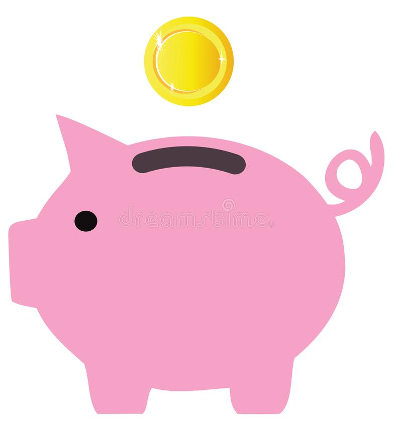 Vector Piggy Bank With Golden Coin royalty free illustration