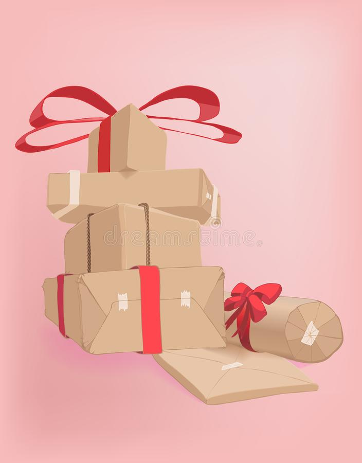 A vector pile of gift boxes in kraft paper on a pink background. Gift boxes packed in kraft paper and folded together. Soft pink background goes well with red royalty free illustration
