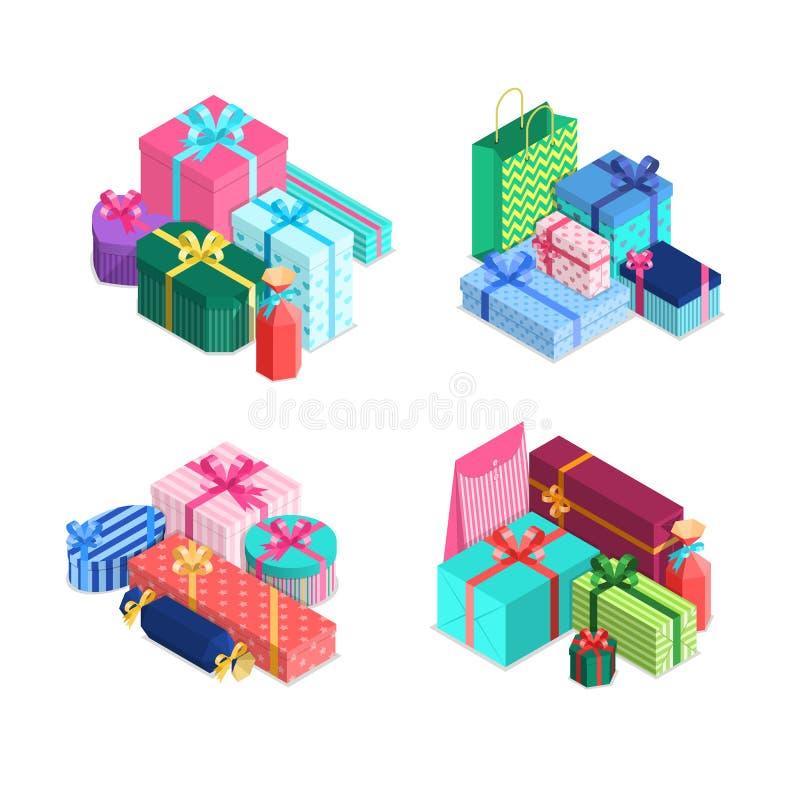 Vector pilhas isométricas das caixas de presente com fitas e curvas no papel de envolvimento Presentes empacotados em envolver o  ilustração royalty free