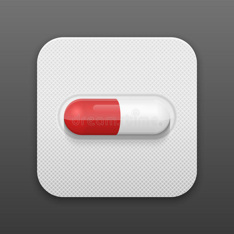 Vector pill in blister pack. Medical background. vector illustration