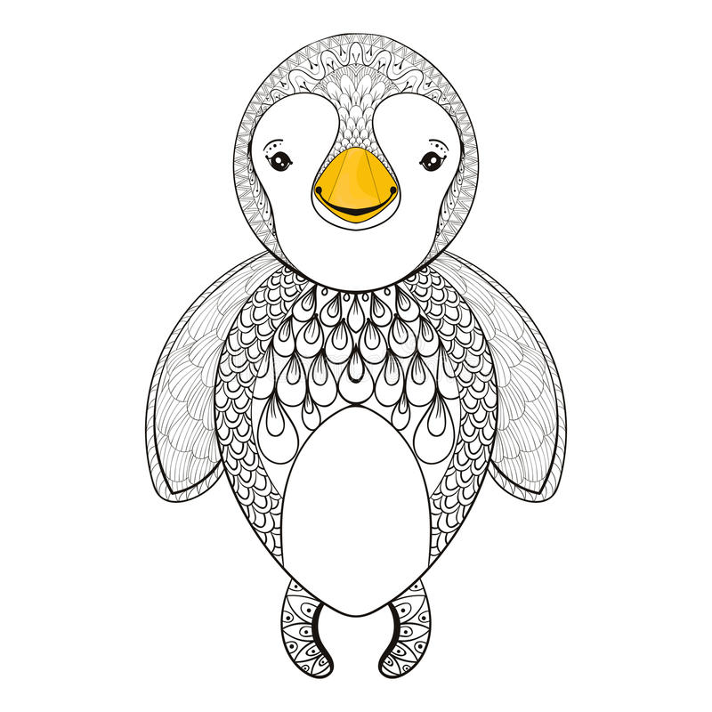 Free Vector Pinguin For Adult Coloring Page. Hand Drawn Cute Pinguin Royalty Free Stock Photo - 70934875