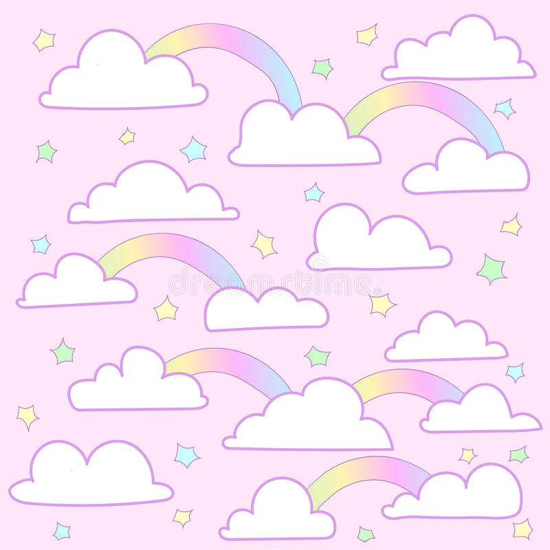 Vector pink background clouds. Vector pink background and lovely clouds and a rainbow colored little stars royalty free illustration