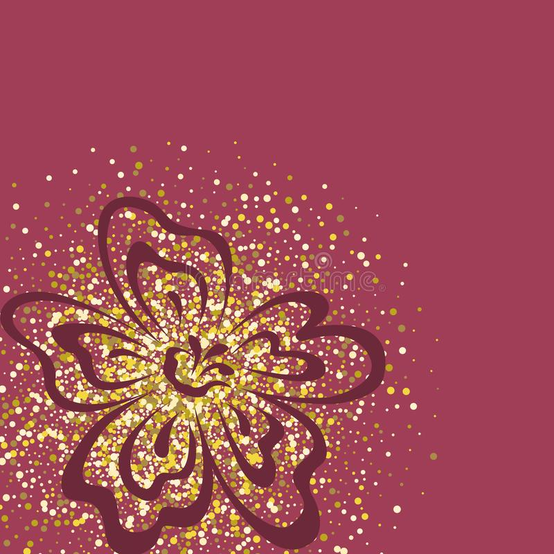 Vector pink background with flower and gold sequins. The background color is dusty rose stock illustration