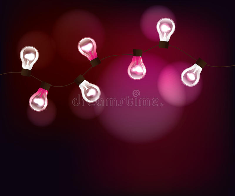 Download Vector Pink Background With Garland Stock Vector - Image: 27284779
