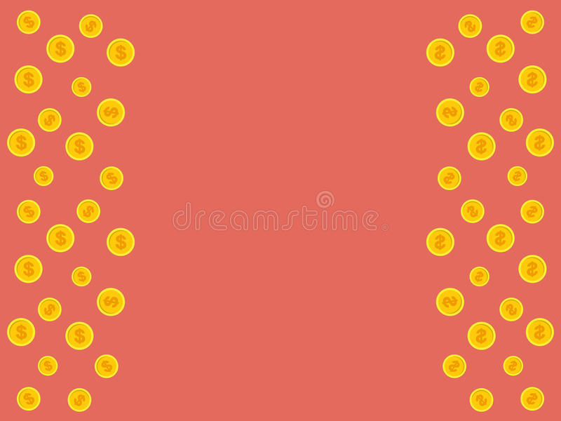 Vector pink background with golden falling coins and space for t. Ext stock illustration