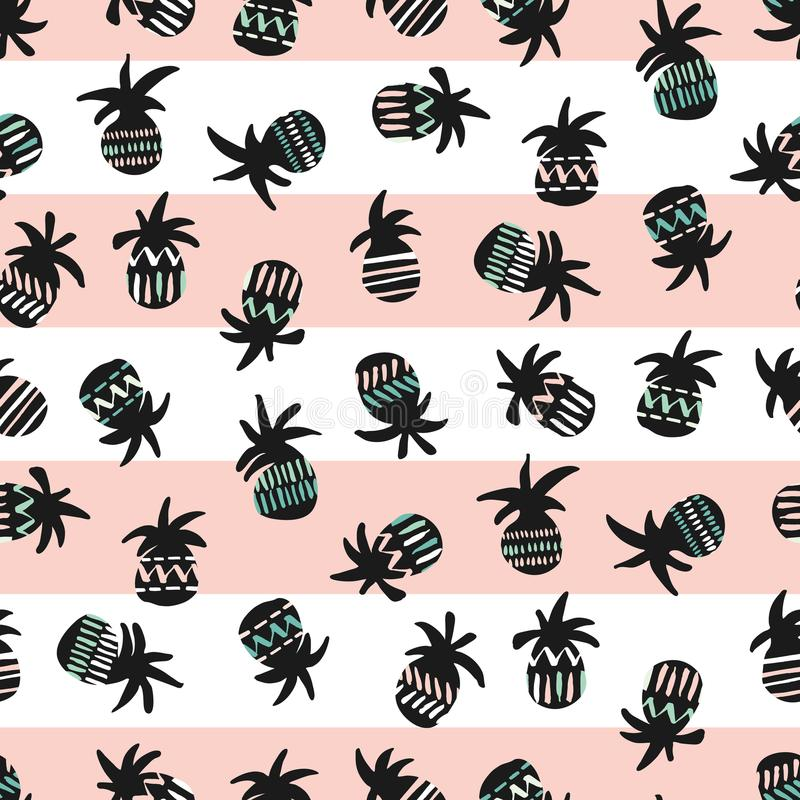 Vector pink and black pineapples on striped pink and white background seamless pattern vector illustration
