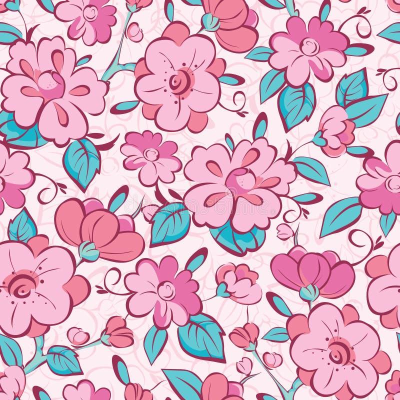 Vector pink blue kimono flowers seamless pattern stock illustration