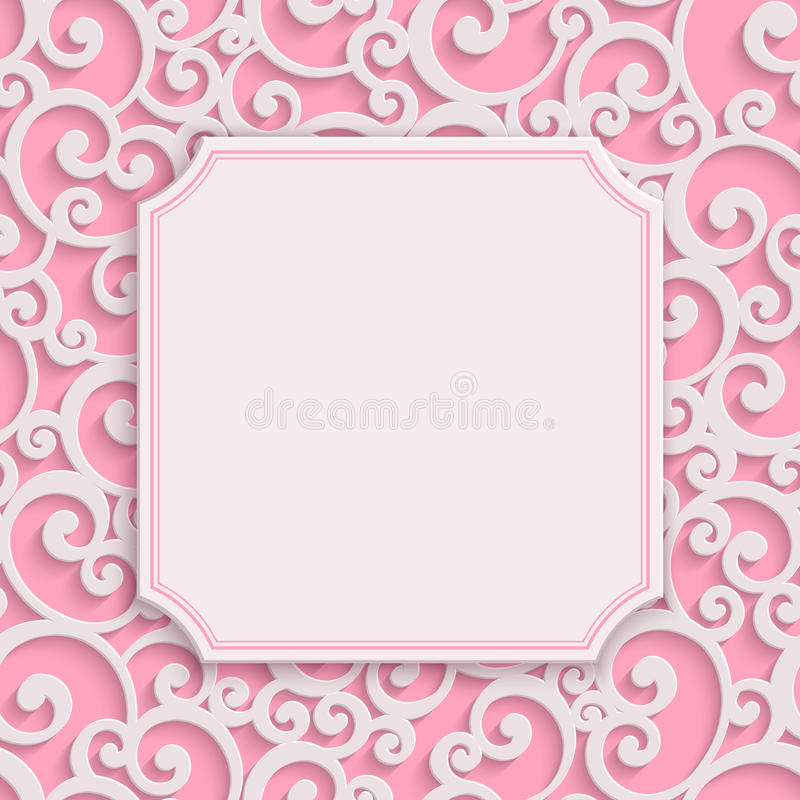 Vector pink 3d vintage invitation card with floral stock vector download vector pink 3d vintage invitation card with floral stock vector illustration of marriage stopboris Images