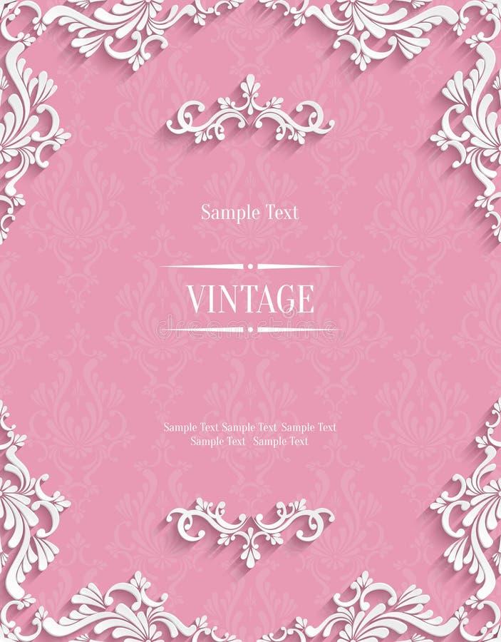 Vector Pink 3d Vintage Invitation Card with Floral Damask Pattern vector illustration