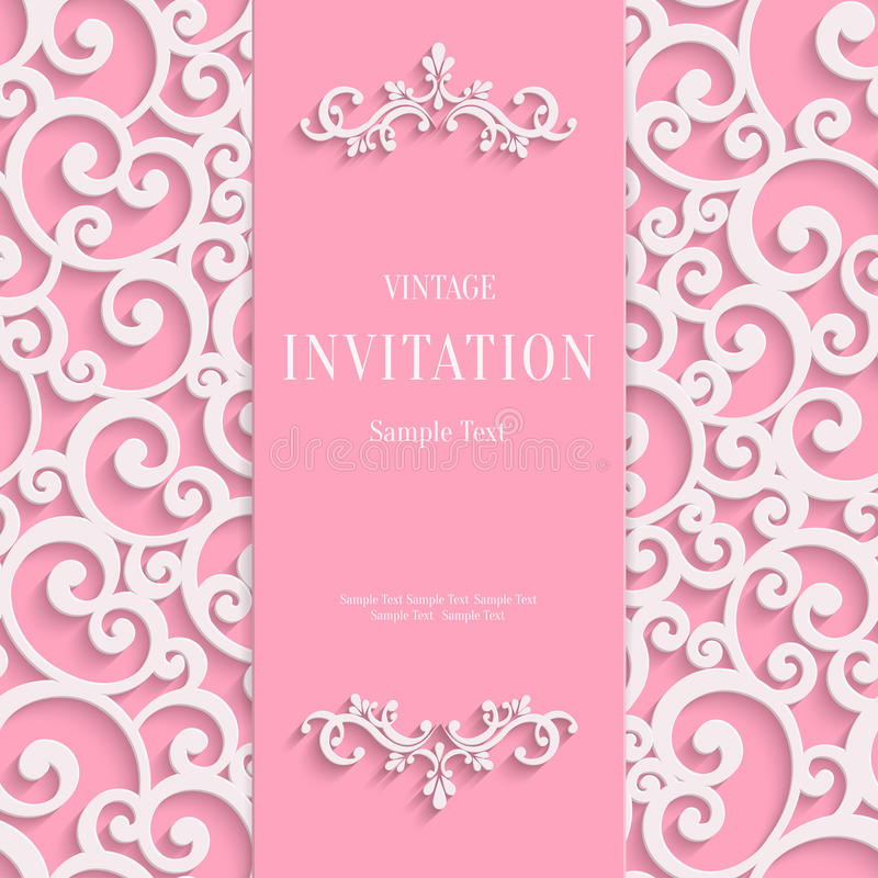 Vector Pink 3d Vintage Invitation Card with Swirl royalty free illustration