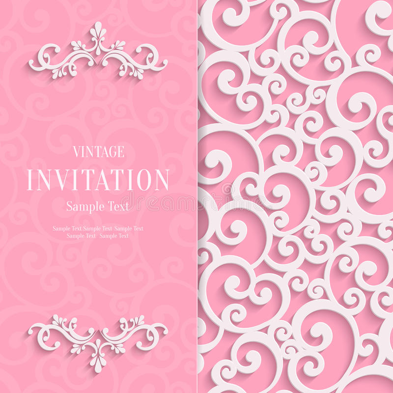 Vector pink 3d vintage invitation card with swirl stock vector download vector pink 3d vintage invitation card with swirl stock vector illustration of happy stopboris Image collections