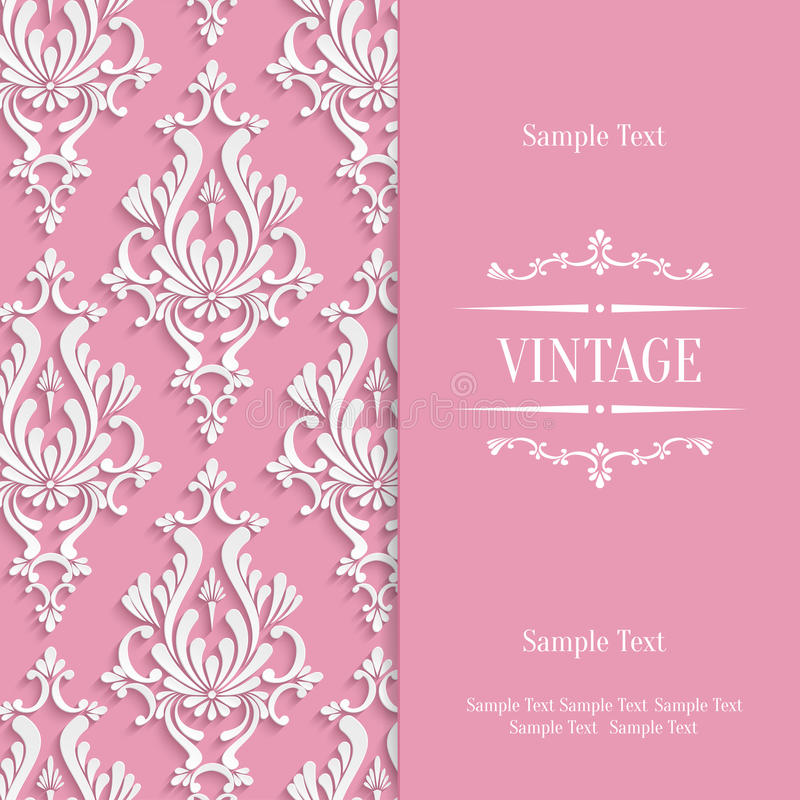 Vector pink 3d vintage invitation card template with floral damask download vector pink 3d vintage invitation card template with floral damask pattern stock vector illustration stopboris Gallery