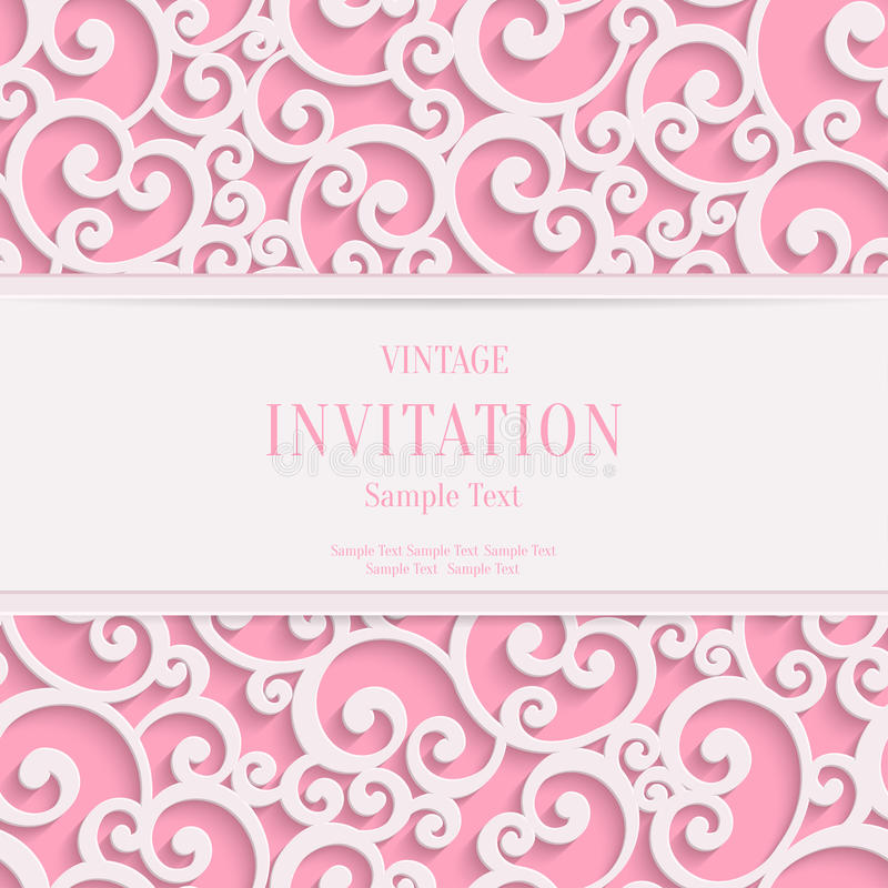 Vector pink 3d vintage valentines or invitation stock vector download vector pink 3d vintage valentines or invitation stock vector illustration of light background stopboris Image collections