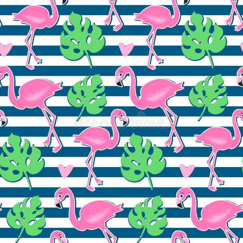 Vector pink flamingo, monstera seamless pattern. Summer tropical background stock illustration