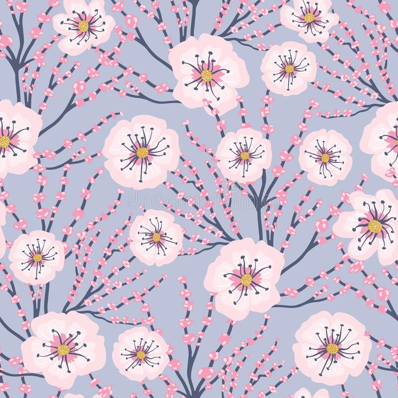 Vector Pink Flowers Blue Background Cherry Blossom Meadows Seamless Pattern stock illustration