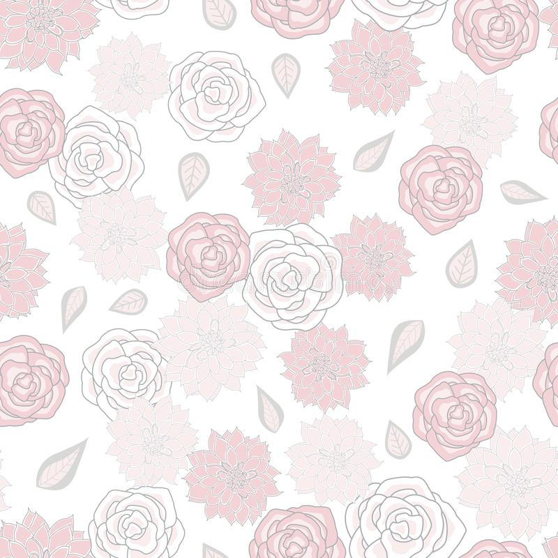 Vector Pink Gray Fowers Roses Floral with Leaves on White Background for tessili, card, manifatture, wallpaper illustrazione vettoriale