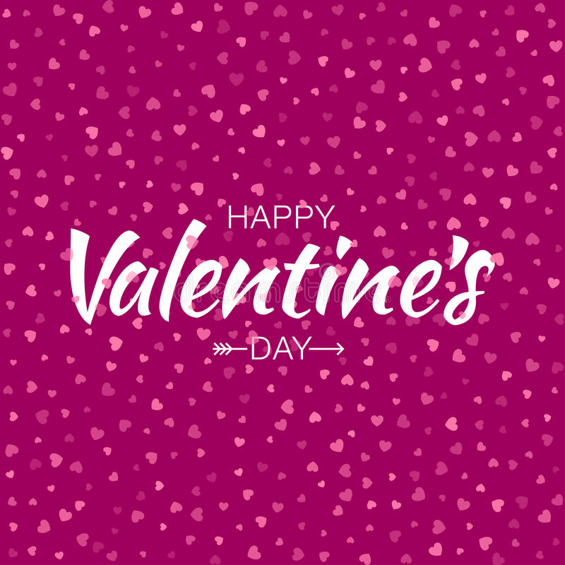 Vector Pink Happy Valentines Day Card seamless pattern hearts background. vector illustration