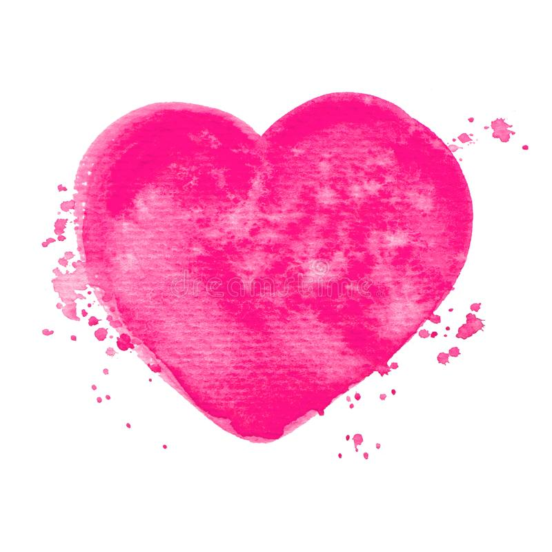 Vector pink heart watercolor paint texture isolated on white for Your design. Vector pink heart watercolor paint texture isolated on white stock illustration