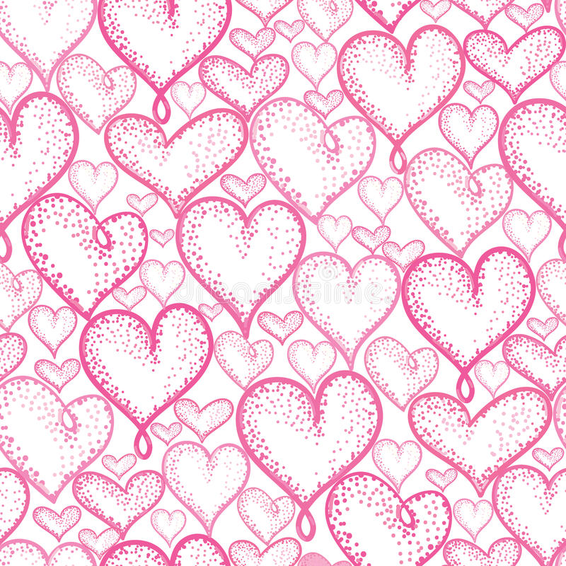 Vector pink hearts seamless repeat pattern background design. Great for romantic Valentine Day cards, wrapping paper royalty free illustration