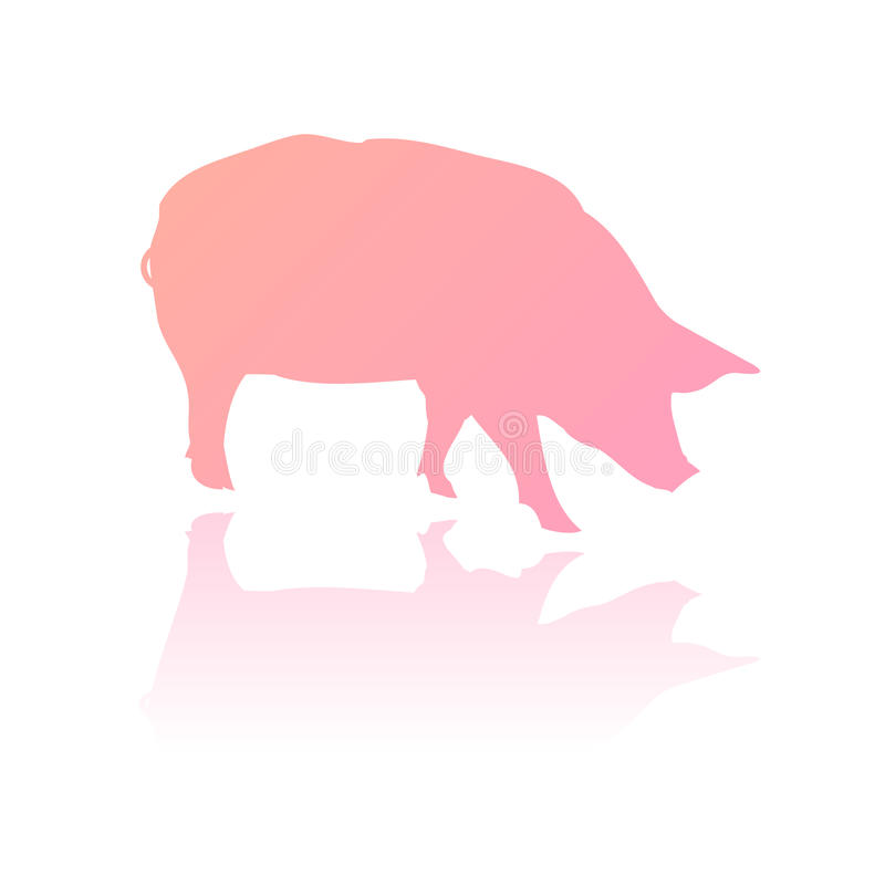 Vector pink pig silhouette royalty free illustration