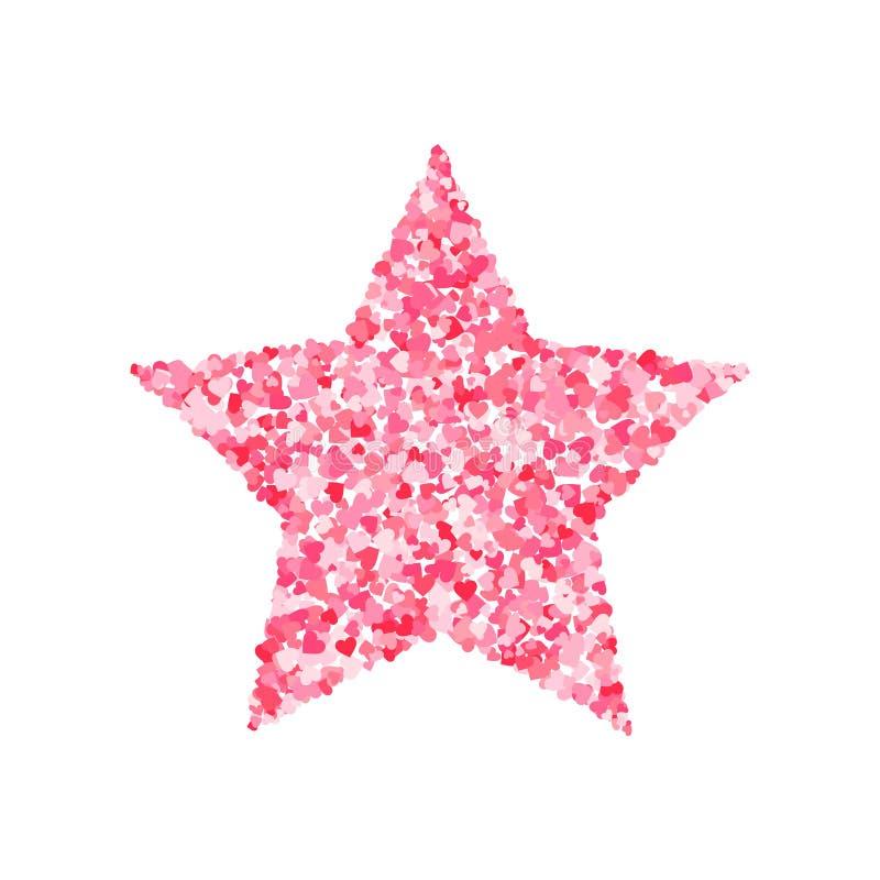 Vector pink & red Valentines Day heartshapes font, star shape vector illustration