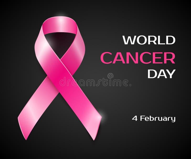 Vector pink ribbon breast cancer awareness symbol. Realistic vector pink ribbon, breast cancer awareness symbol, isolated on black vector illustration