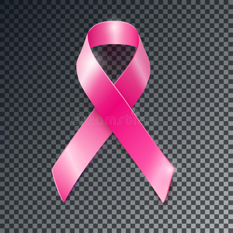 Vector pink ribbon breast cancer awareness symbol. Realistic vector pink ribbon, breast cancer awareness symbol, isolated on transparent background stock illustration