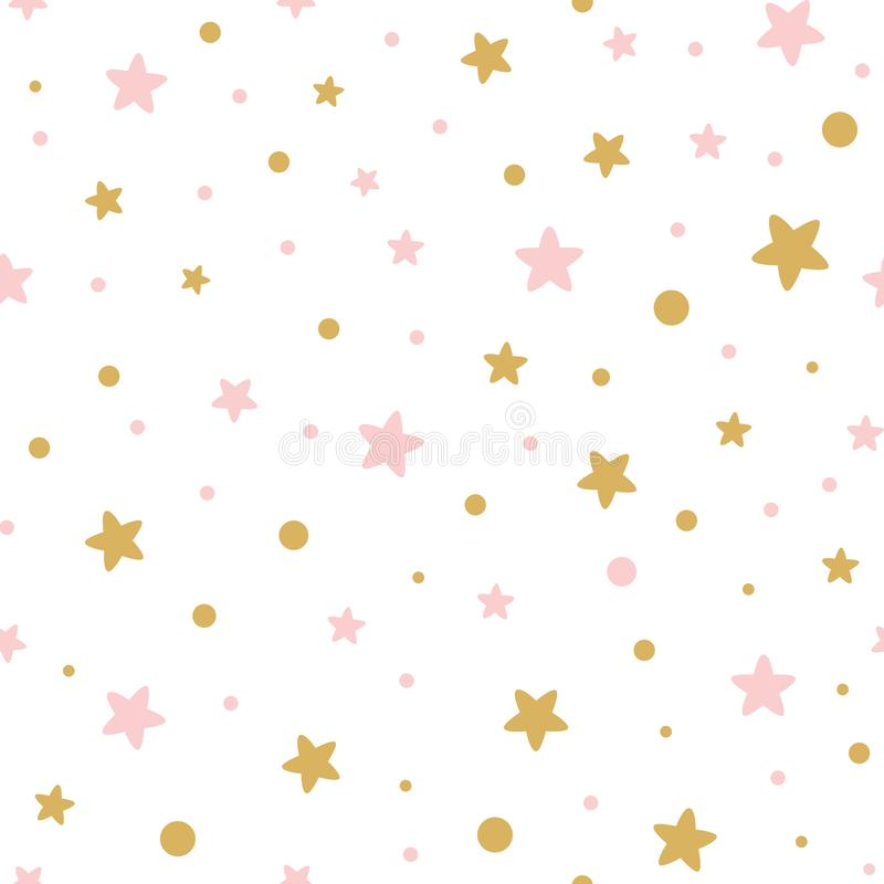 Vector pink seamless pattern decoreted gold pink stars for Christmas backgound or baby shower sweet girl design. Light seamless pattern decorated golden and pink royalty free illustration