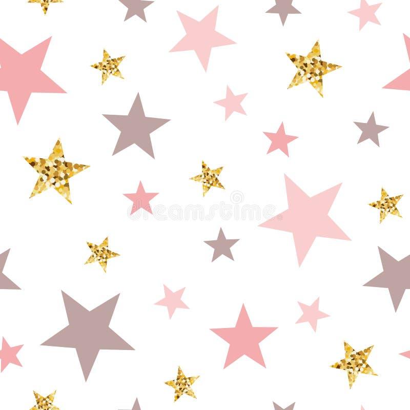 Vector pink seamless pattern gold glitter stars pink for Christmas backgound or baby shower sweet girl design vector illustration