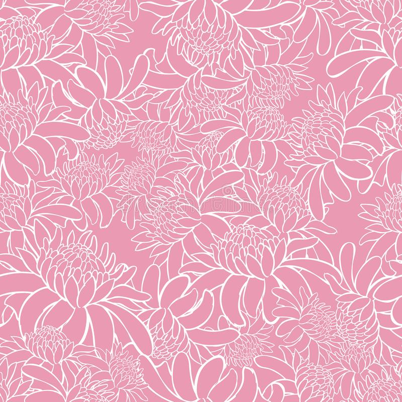 Vector pink seamless pattern with tropical torch ginger flowers outlines. Suitable for textile, gift wrap and wallpaper. royalty free illustration