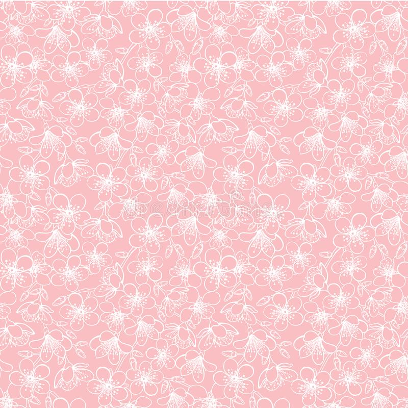 Vector pink small cherry blossom sakura flowers seamless pattern background texture stock illustration