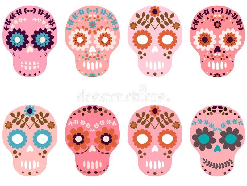 Vector pink sugar skulls with flowers royalty free illustration
