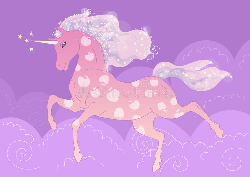 Vector Pink Unicorn in the apples on the background of purple clouds stock image