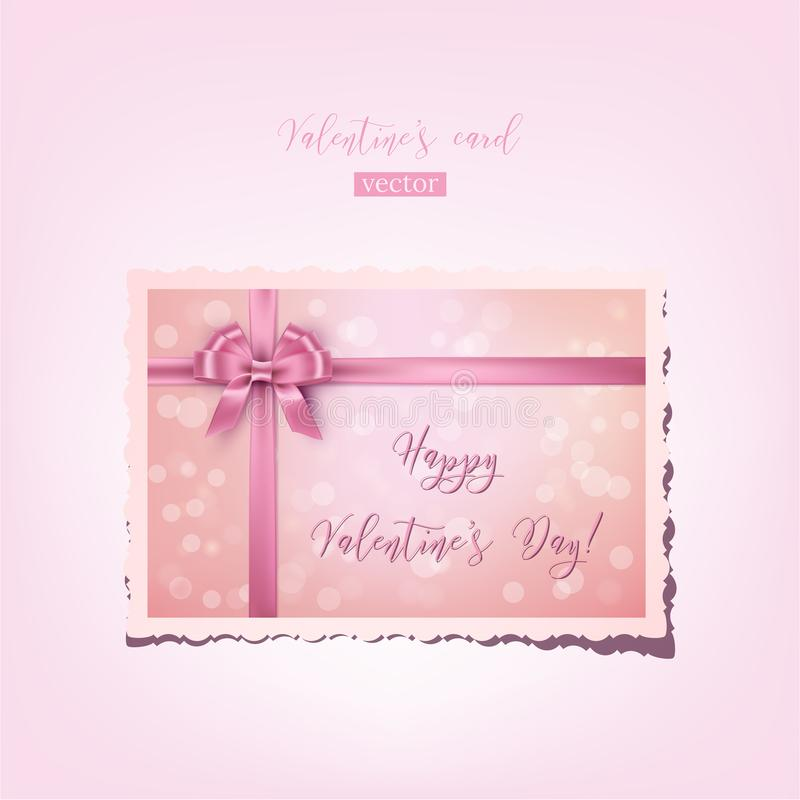 Vector pink valentine`s card with bow, ribbon and Happy Valentine`s Day text. Realistic vintage Valentine. Vector pink valentine`s card with bow, ribbon and stock illustration