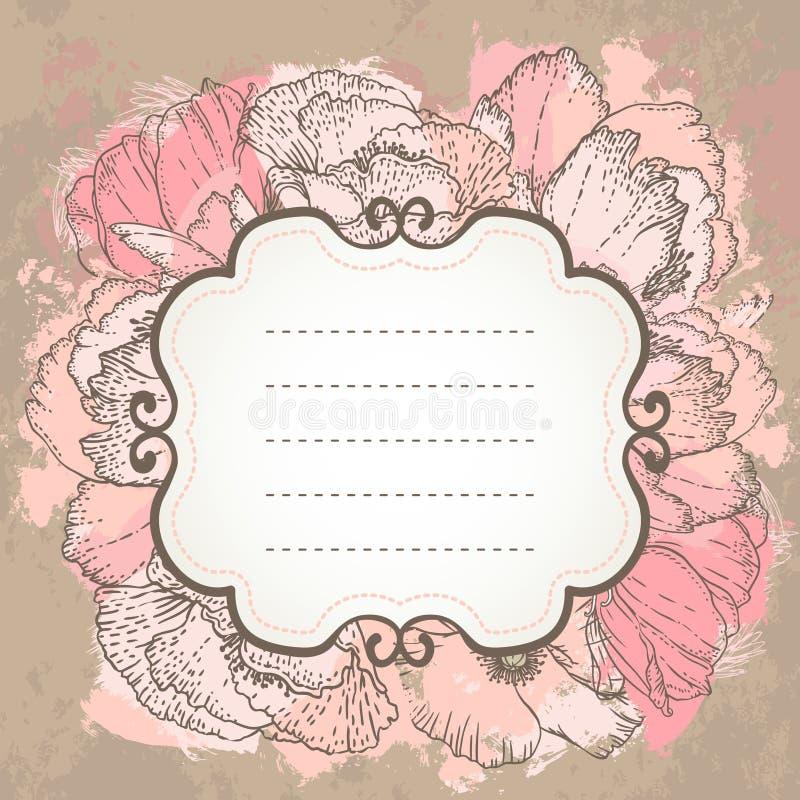 Vector pink wedding floral grunge background. vector illustration
