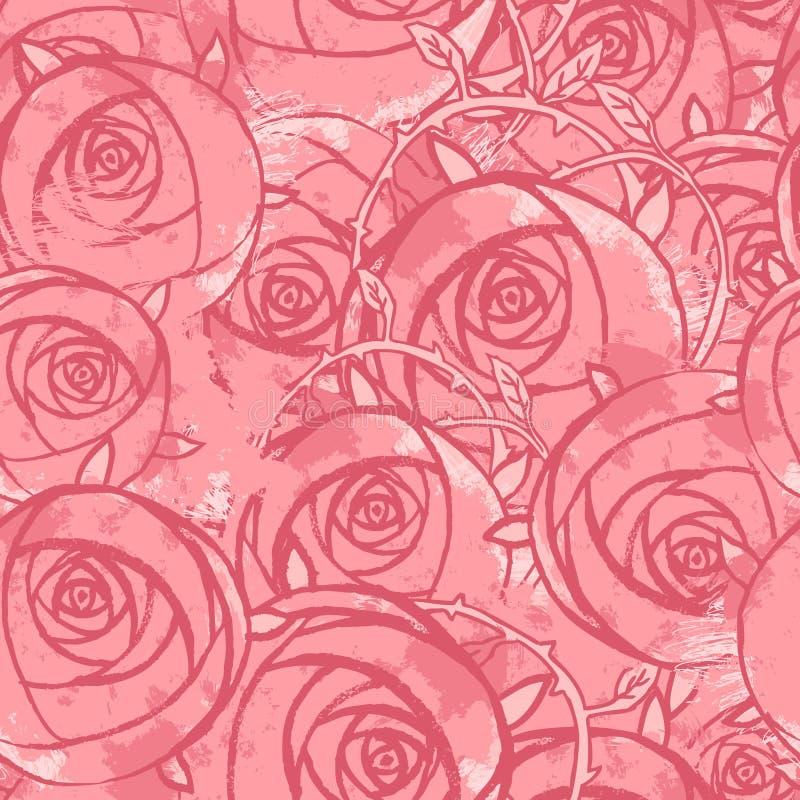 Vector pink wedding floral grunge seamless pattern stock illustration