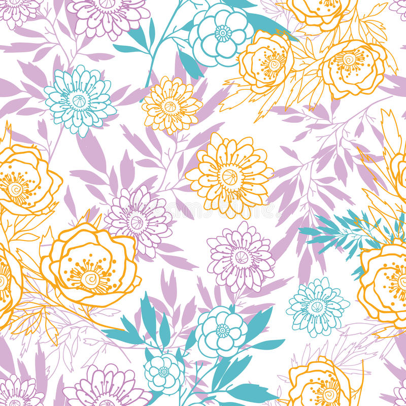 Vector pink, yellow, blue leaves and flowers summer seamless pattern with pastel plants and leaves on white background stock illustration