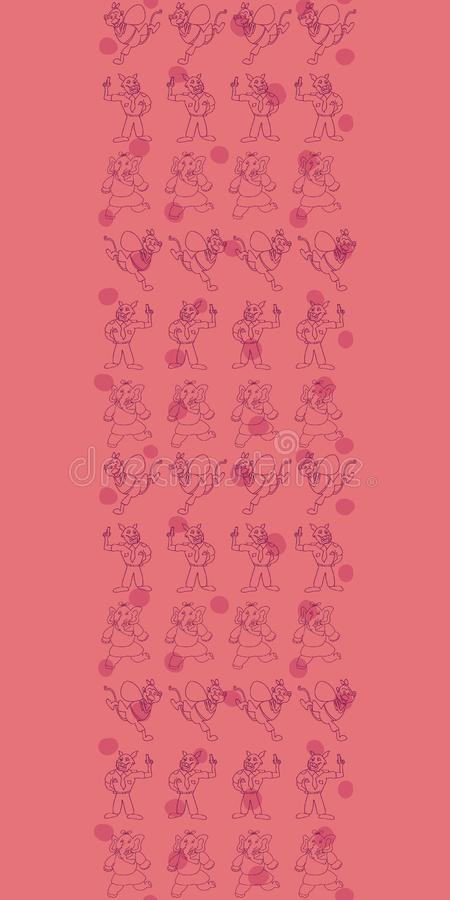 Vector pinkish orange horizontal anthropomorphic characters with polka dots seamless pattern background. Great for fabrics, wallpaper, gift wrap, scrap booking stock illustration