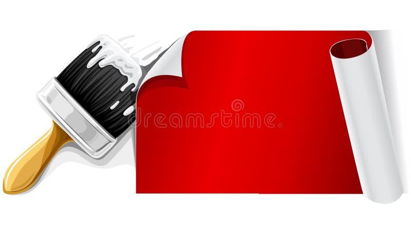 Vector Pinsel mit dem Kleber und rotem Papier, die isolsted sind lizenzfreie abbildung