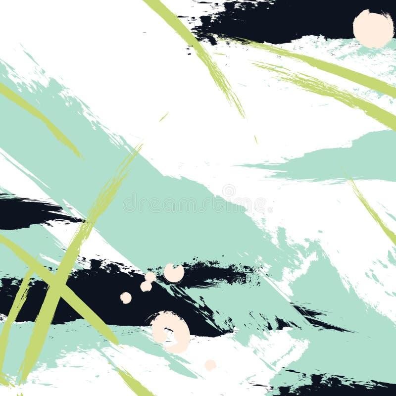 Vector a pintura do curso da escova em cores verdes da marinha Respingo fresco acrílico criativo abstrato do curso Chapinhar o fu ilustração royalty free